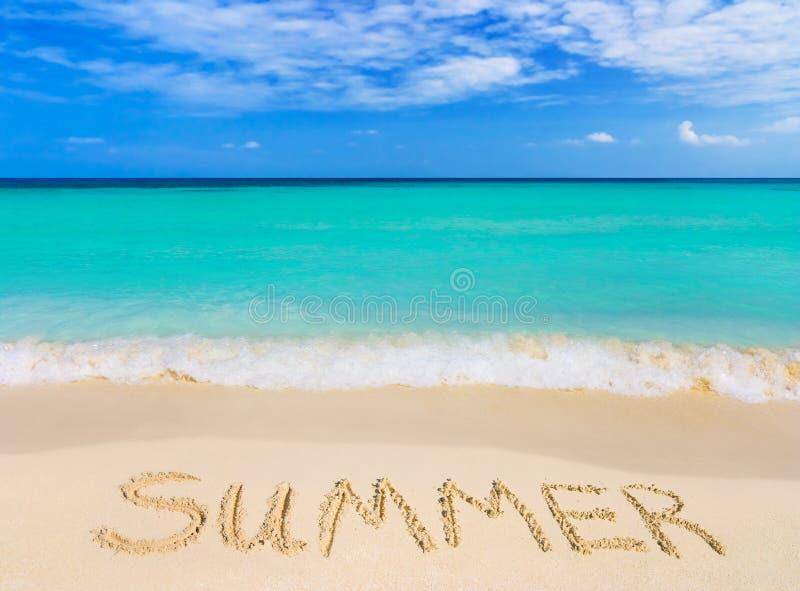 Word Summer on beach stock photo