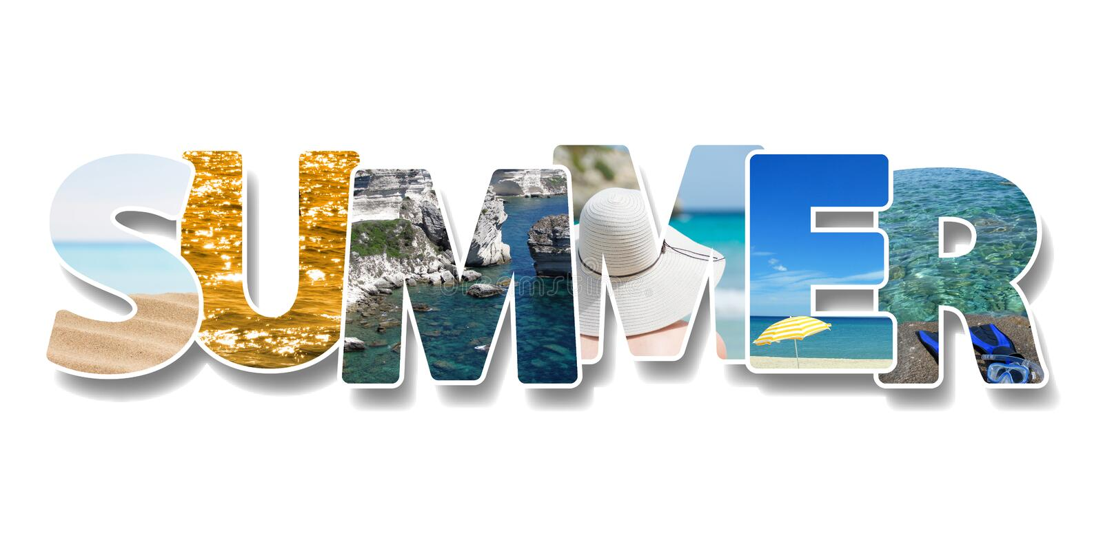 The word summer. Collage of some  photos on text. Vacation on beach concept royalty free stock photography