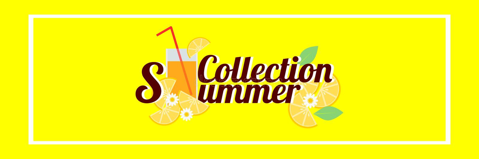Word `Summer Collection` and summer drink with sliced lemons on bright yellow background. Vector illustration in summer concept. Use for web banner, or in stock illustration