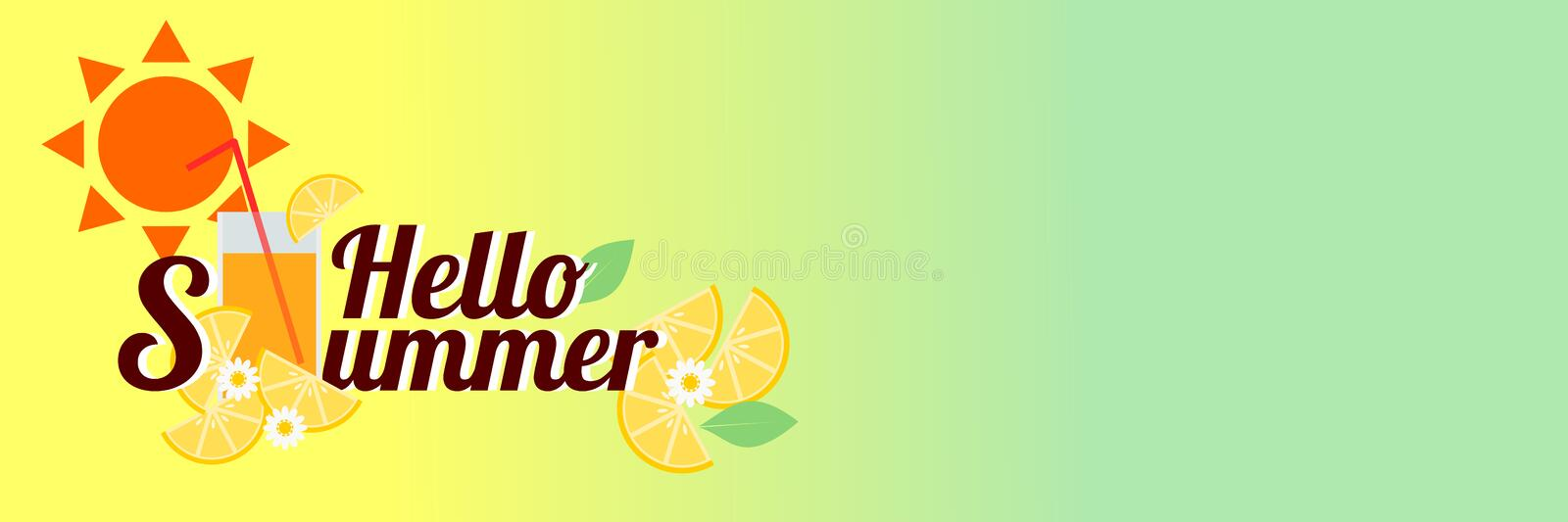 Word `Summer Collection` and summer drink with sliced lemons on bright yellow background. Vector illustration in summer concept. Use for web banner, or in vector illustration