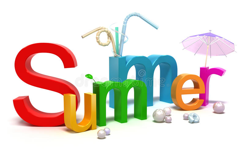 Word Summer With Colourful Letters Royalty Free Stock Photography