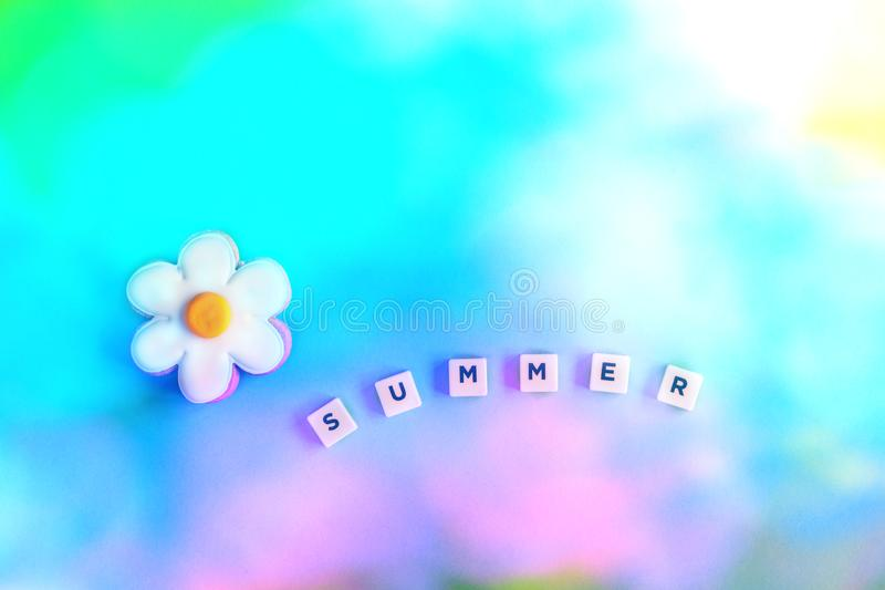 The word summer with flower on gradient stock photos