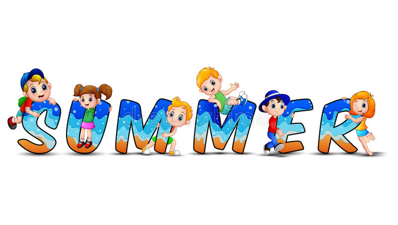 Word summer with happy kids stock illustration