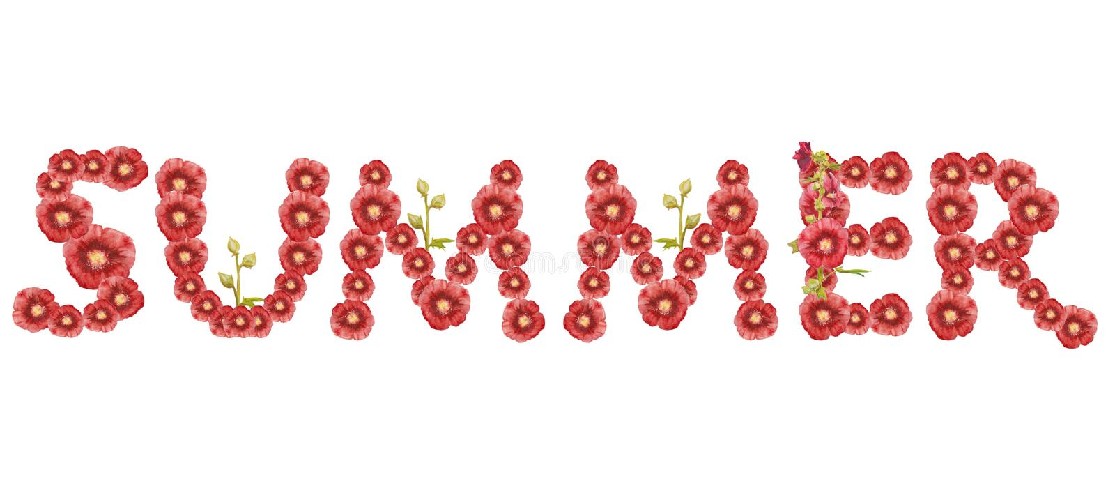 The word `Summer`. Red inscription on white background. royalty free illustration