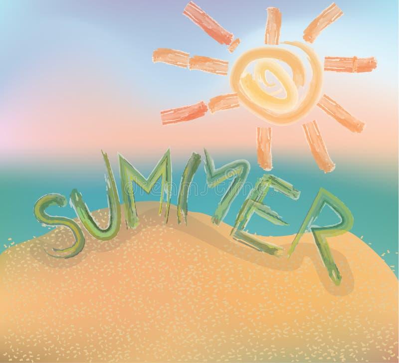 Word summer. sun. Painted paint. Beach. stock illustration
