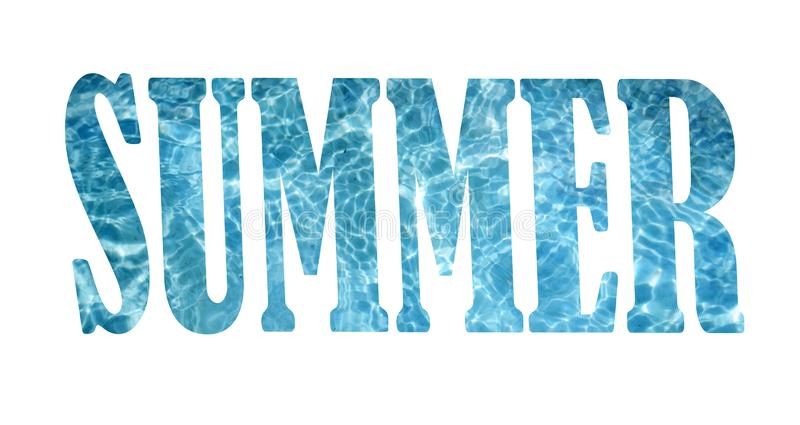 Word summer with swimming pool water nside the letters, blue color of wording stock images