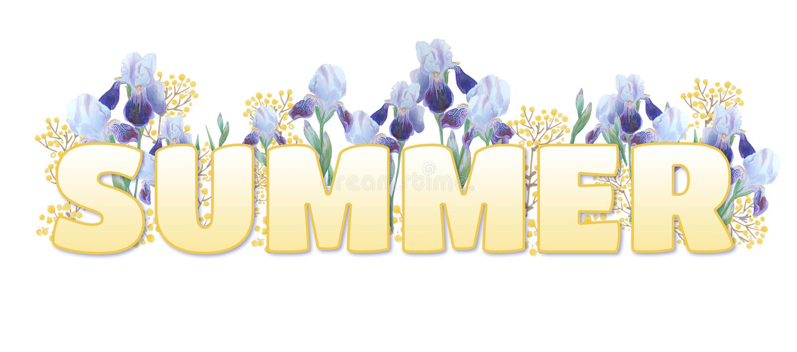 The word `Summer`. Yellow gradient inscription on white background. Bright irises and yellow sprigs stock illustration