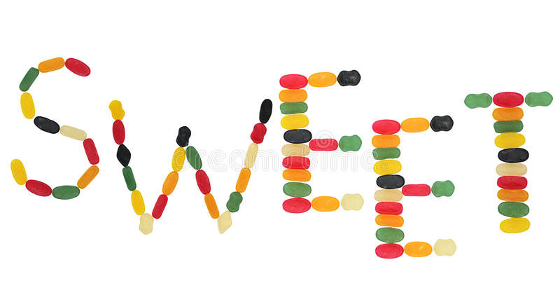 Word sweet formed by wine gums. Word sweet formed by colorful wine gums royalty free stock image