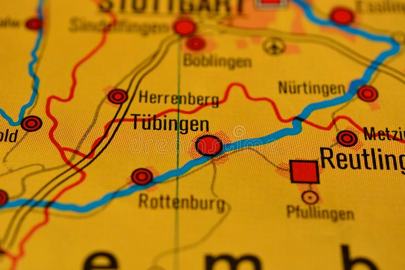 the word tbingen germany on the physical map of the country
