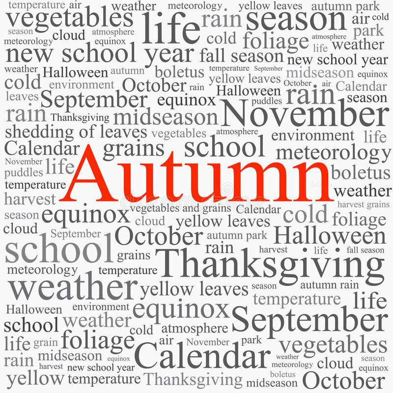 Word tag cloud concept illustration. Of autumn season on white background stock illustration