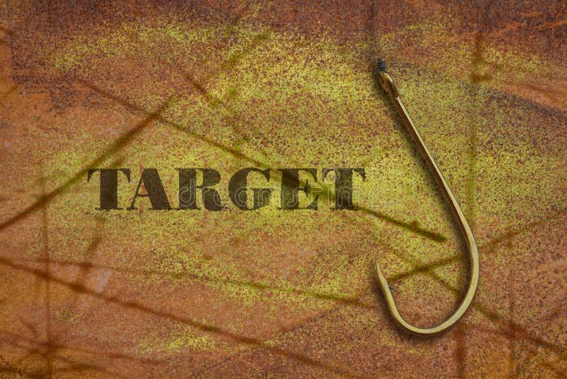 Word Target and a hook stock image