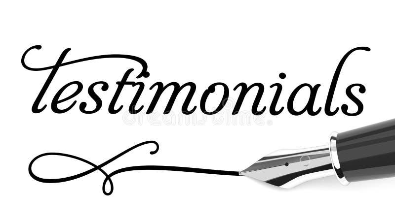 Testimonials card. Word testimonials and fountain pen royalty free illustration