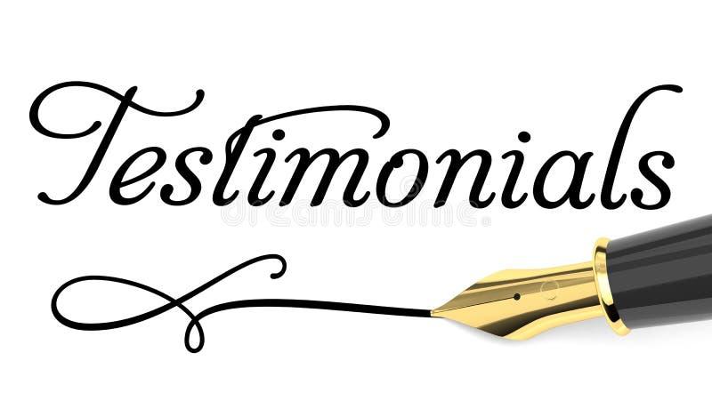 Testimonials card. Word testimonials and fountain pen stock illustration