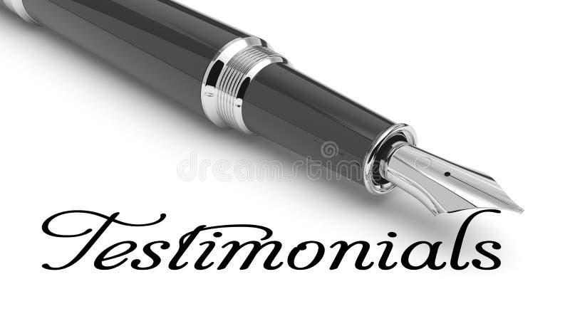 Testimonials card. Word Testimonials written with fountain pen royalty free illustration