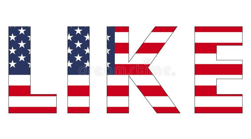 Word text like USA flag, vector word like styled under the us flag royalty free illustration