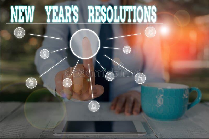 Word-Text Neujahrs-Entschließungen Geschäftskonzept für Wunschliste Liste der Dinge, die Frauen erreichen oder verbessern sollen stockbild