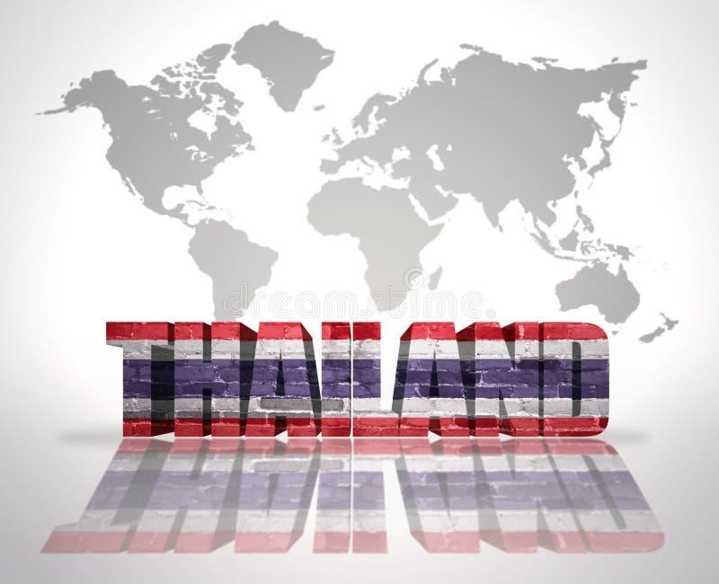 Word Thaïlande sur un fond de carte du monde illustration stock