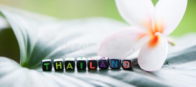 Word Thailand wordt gemaakt van multicolored brieventoerisme, rust, aangaande royalty-vrije stock foto