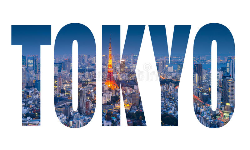 Word TOKYO over Skyline of Tokyo Cityscape with Tokyo Tower at night stock photography