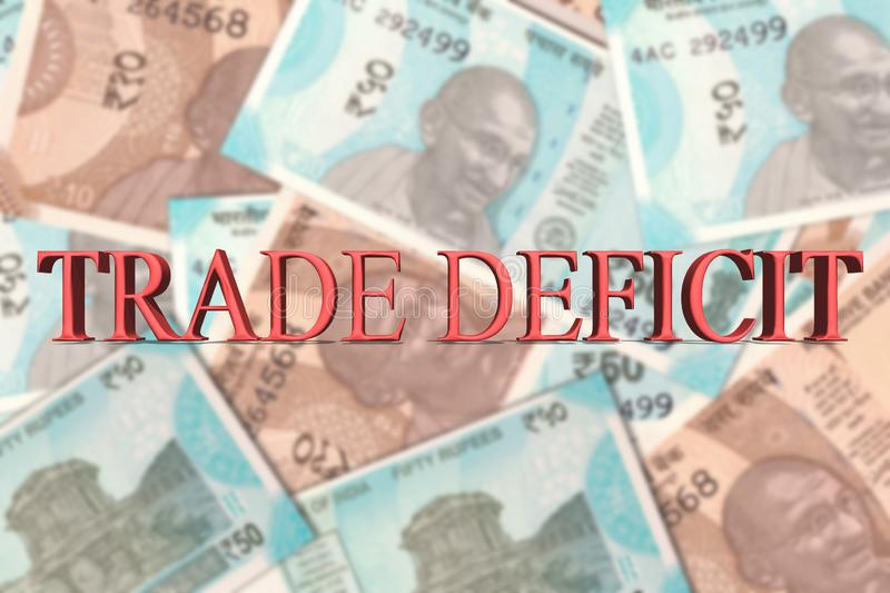 Word Trade Deficit In 3d letters on Indian Currency Banknotes royalty free illustration