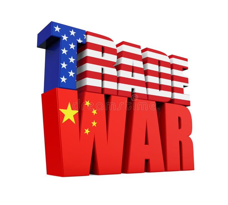 Word `TRADE WAR` with United States and Chinese Flag Isolated stock illustration