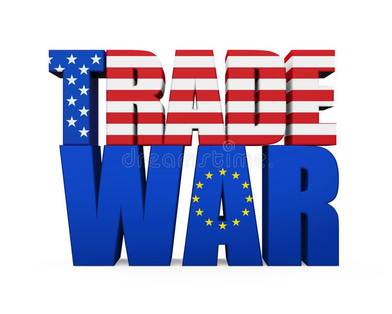 Word `TRADE WAR` with United States and European Union Flag Isolated vector illustration