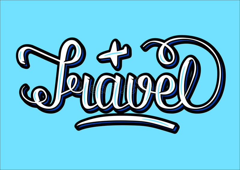 Word Travel with volume effects, written with hand lettering, and little plane sketch,. Word Travel with volume effects, written with hand lettering, and little royalty free illustration