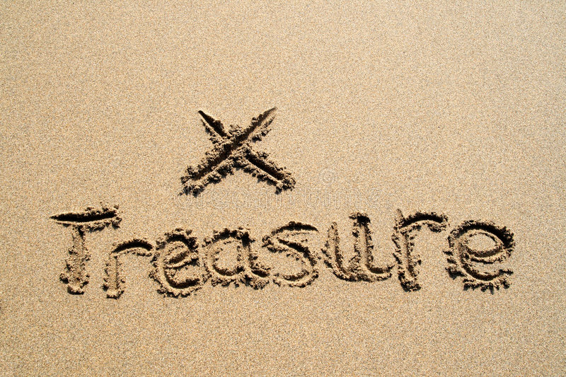 The word treasure. The word treasure written in the sand with an X marking the spot to dig stock photography