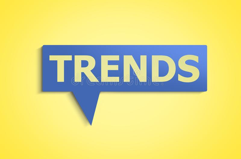 New trends concept. Word trends in blue speech bubble. trends concept royalty free stock photo