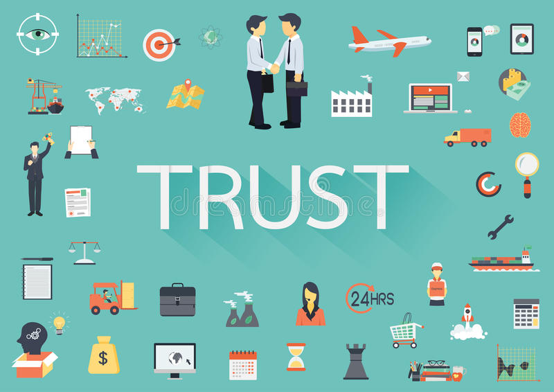 The word TRUST with long shadow surrounding by concerning flat icons stock illustration