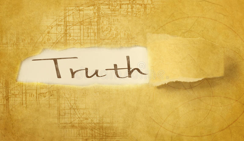 Word truth. Written under torn paper vector illustration