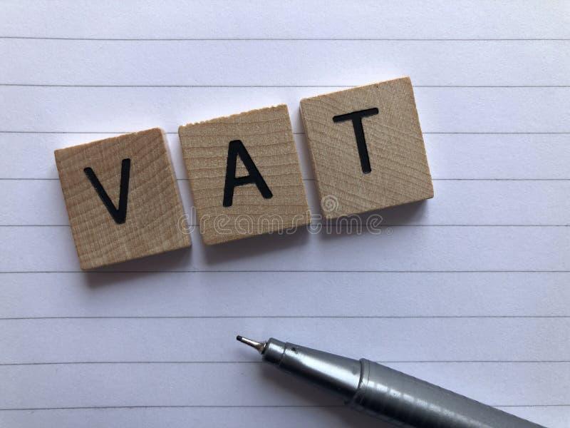 Word TVA - taxe ? la valeur ajout?e, comptabilit? et d?clarations d'imp?t photographie stock