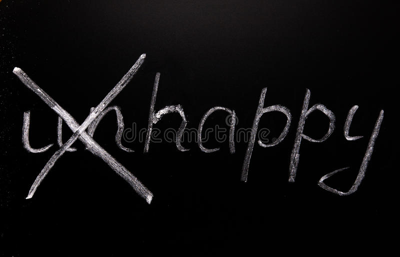 Word unhappy. Psychological concept. Written in chalk on a blackboard the word unhappy, crossed the prefix un royalty free stock image