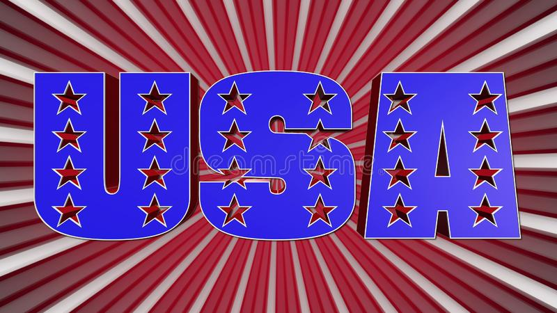 The Word USA In The American Flag Colors vector illustration