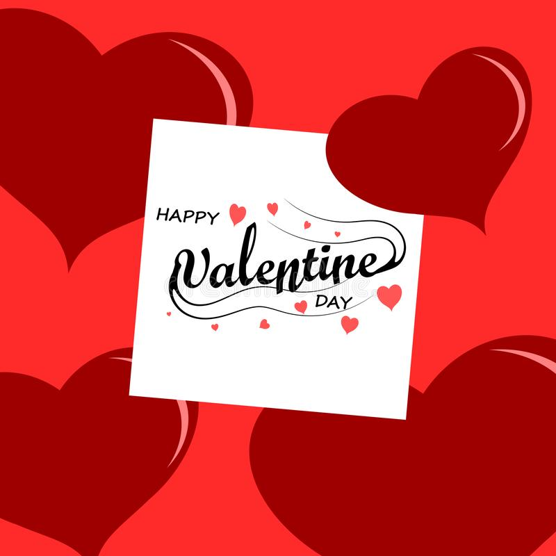 Word Valentine day on white paper,love. Concept royalty free illustration