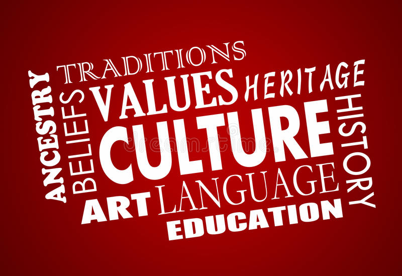 Word van de de Diversiteitstaal van de cultuurerfenis Collage royalty-vrije illustratie