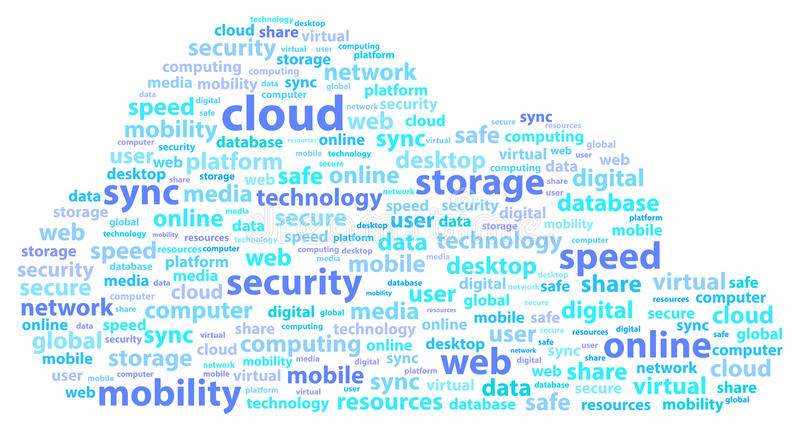 Word van de de Opslagveiligheid van wolken Online Gegevens Concept royalty-vrije illustratie