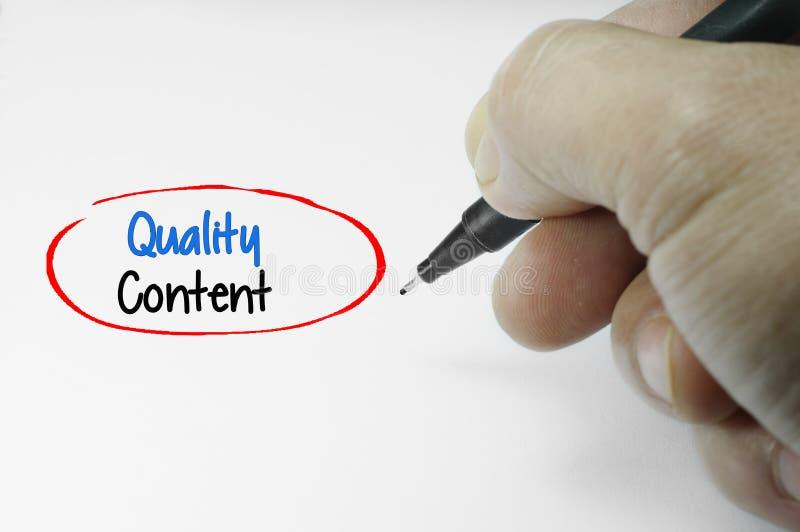 Word van de kwaliteitsinhoud stock afbeelding