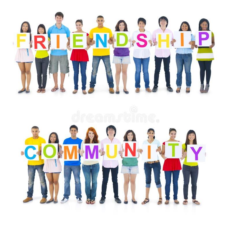 Word van de mensenholding Vriendschap en Gemeenschap royalty-vrije stock fotografie