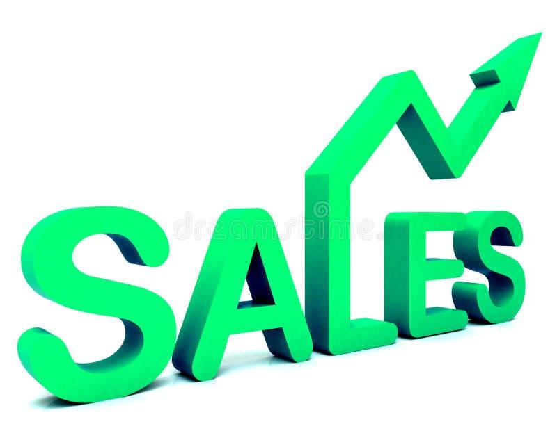 Word van de Pijl van de verkoop toont Zaken of Handel royalty-vrije illustratie