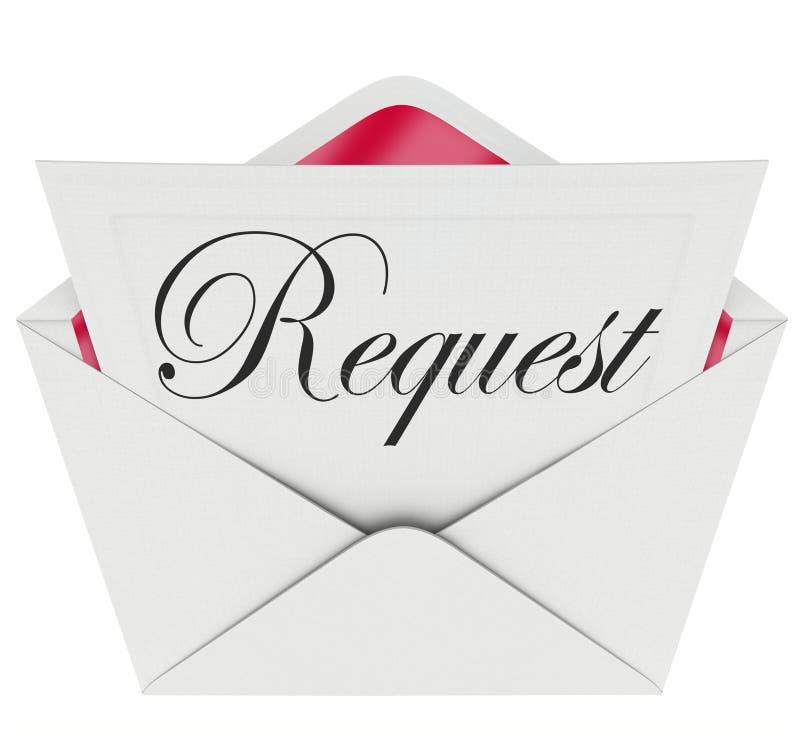 Word van de verzoekenvelop Notabrief die om Hulp vragen vector illustratie