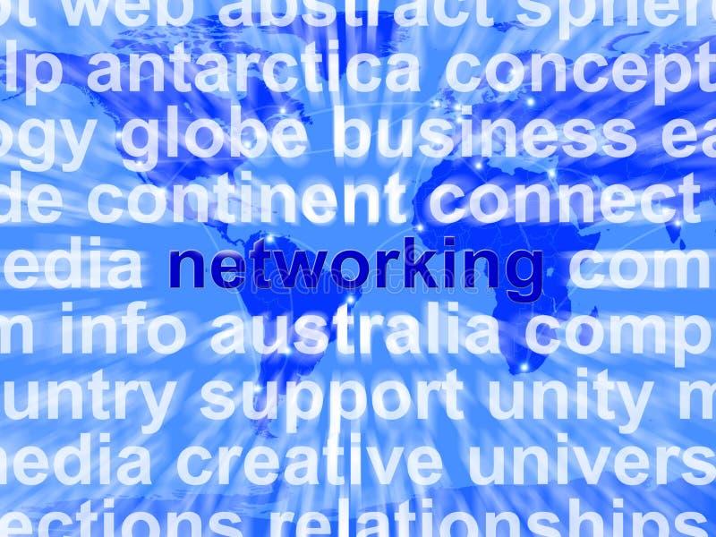 Word van het voorzien van een netwerk over de Achtergrond van de Wereld royalty-vrije illustratie