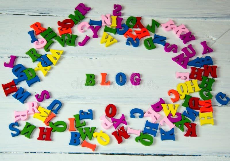 Word van kleurrijke brievenblog stock afbeelding