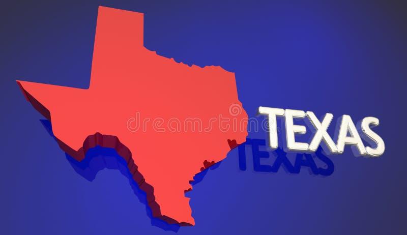 Word van Texas Red State Map TX Naam royalty-vrije illustratie