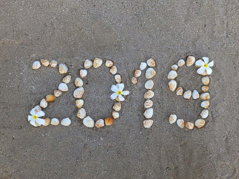 Word 2019 van zeeschelpen op een zandig strand stock afbeelding