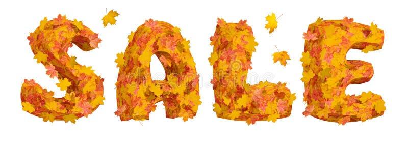 Word Verkoop van reusachtige die brieven wordt gemaakt door heldere esdoornbladeren dat worden behandeld stock illustratie
