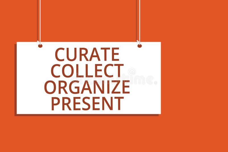 Word verzamelt de schrijvende tekstkapelaan organiseert Heden Bedrijfsconcept voor het Terugtrekken van Organisatie Curation die  royalty-vrije illustratie