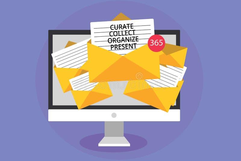 Word verzamelt de schrijvende tekstkapelaan organiseert Heden Bedrijfsconcept voor het Terugtrekken van Organisatie Curation die  vector illustratie