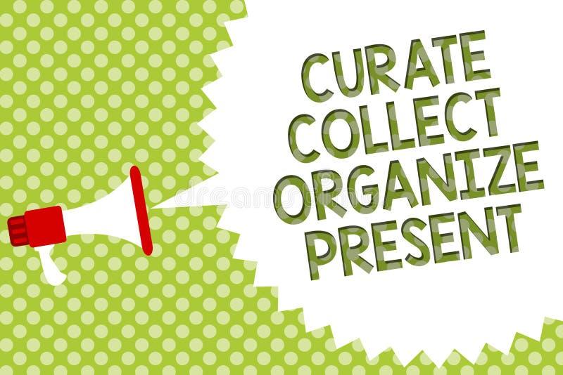 Word verzamelt de schrijvende tekstkapelaan organiseert Heden Bedrijfsconcept voor het Terugtrekken van Organisatie Curation die  stock illustratie