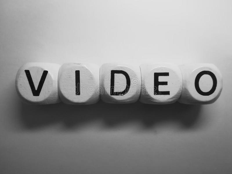 Word video spelled on dice royalty free stock photo